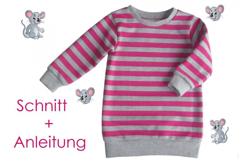 Schnitt und Nähanleitung Longpullover Sweatkleid