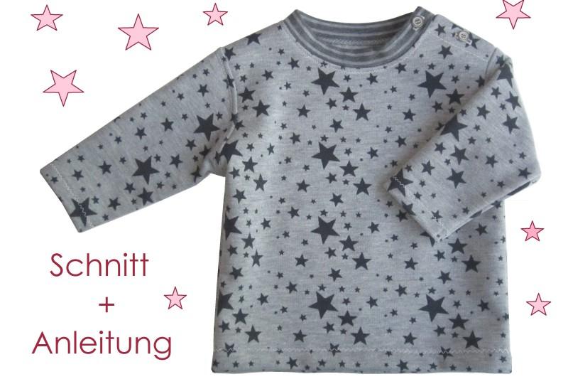 Schnitt und Nähanleitung Baby Sweatshirt mit Schulterverschluss