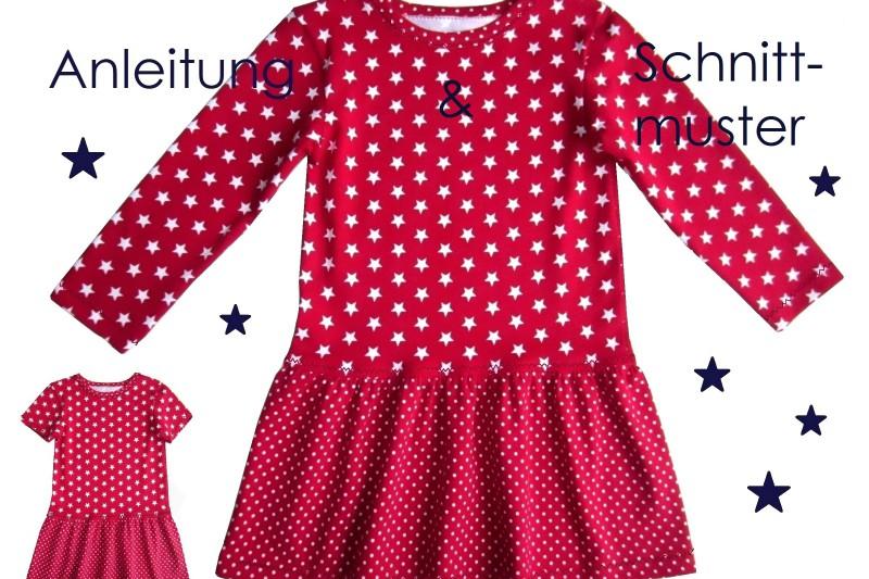 Schnitt und Nähanleitung Kinder Jerseykleid Langarm und Kurzarm